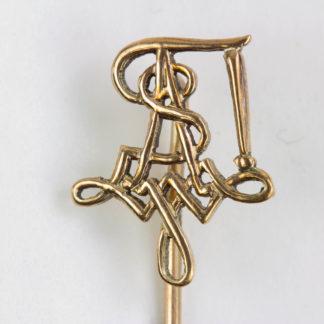 Krawattennadel, wohl Österreich, 20. Jh., 250er Gold, gestempelt E. S. und Hand, Studentischer Zirkel. L: 5,5 cm, 0,8 g, www.beyreuther.de