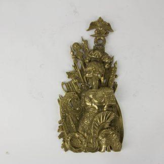 Beschlag, Russland, 2. Hälfte 19. Jh., Bronze, mit Kriegstrophäen, im Stil des Empire, alte Reparatur. H: 26 cm, www.beyreuther.de