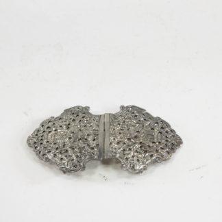 Gürtelschließe, um 1900, wohl Asien, Silber, feiner Handarbeit, guter Zustand. L: 10 cm, Belt-buckle, about 1900, probably Asia, silver, fine work, www.beyreuther.de