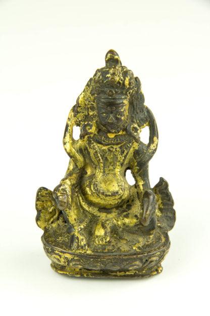 Kleine Figur, wohl Tibet, 17. Jh., Bronze, Jambhala, Gott des Reichtums, mit Goldlack überzogen, schöne Patina, H: 8 cm. www.beyreuther.de