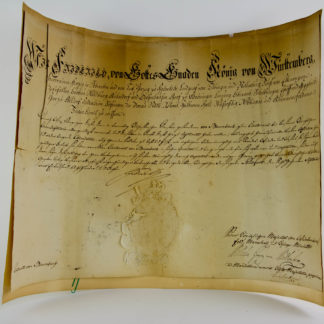 Beförderungsurkunde, 1808, für Ernst Wilhelm Baumbach, Leutnant der Württembergischen Infanterie, handgeschriebene Urkunde mit den Unterschriften des Königs von Württemberg und des Herzogs von Württemberg, guter Zustand, ein Einriss, Knicke. 37 cm x 52 cm.