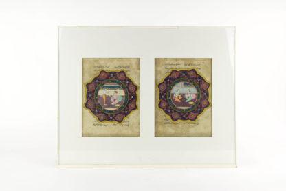2 Buchseiten, wohl Indien?, 18./19. Jh., höfische Szenen, leicht fleckig eine Darstellung mit kleiner Fehlstelle unter Passepartout. 19 cm x 14 cm.