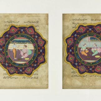 2 Buchseiten, wohl Indien?, 18./19. Jh., höfische Szenen, leicht fleckig eine Darstellung mit kleiner Fehlstelle unter Passepartout. 19 cm x 14 cm. www.beyreuther.de