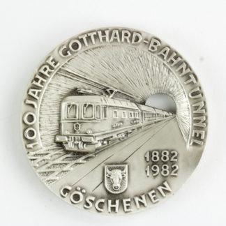 Medaille, Schweiz, Silber, 100 Jahre Gotthard Bahntunnel, Göschenen 1882,1982, Zustand: ss, kleine Rundschläge, selten. D: 50,2 mm, 7,15 g. www.beyreuther.de