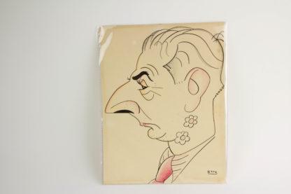 Handzeichnung, erste Hälfte 20. Jh., signiert BON für Romà Bonet i Sintes, spanischer Maler und Designer (1886-1966), Karikatur von Joachim Ringelnatz, guter Zustand, leichte Knickspuren, auf Rückseite Befestigungsreste. H: 32 cm x 25 cm. www.beyreuther.de