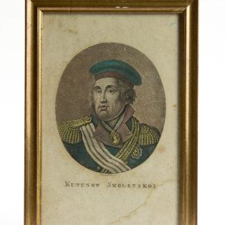 Stich, Anf. 19. Jh., Portrait von Michail Illarionowitsch Kutusow-Smolenski, koloriert, gerahmt, stockfleckig. H: 20, 5 cm, B: 13,5 cm. www.beyreuther.de