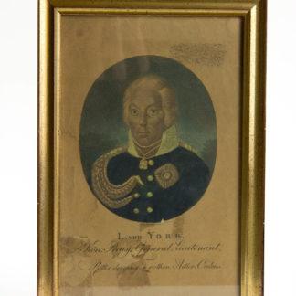 Stich, Anf. 19. Jh., Portrait von L. von York, koloriert, gerahmt, stockfleckig, Klebespuren, gedunkelt. H: 20, 5 cm, B: 13,5 cm. www.beyreuther.de