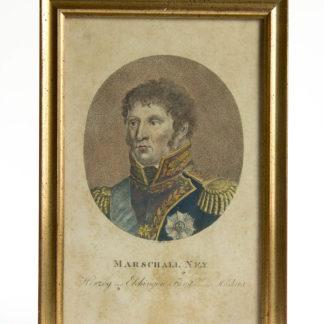 Stich, Anf. 19. Jh., Portrait von Marschall Ney, koloriert, gerahmt, stockfleckig. H: 20, 5 cm, B: 13,5 cm. www.beyreuther.de
