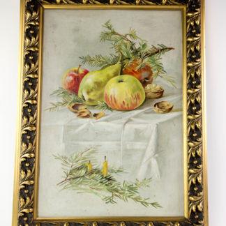 Gemälde, um 1900, Öl auf Pappe, unsigniert, winterliches Stillleben mit Äpfeln, Birnen, Nüssen und Tannenzweigen, vergoldeter Stuckrahmen, guter Zustand. B: 40 cm, H: 54 cm. www.beyreuther.de