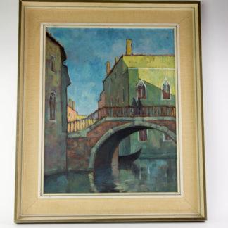 Gemälde, 20. Jh., Öl auf Sperrholz, unsigniert, Ansicht von Venedig, Rahmen 20er Jahre, rückseitig beschriftet, guter Zustand. B: 53 cm, H: 64 cm. www.beyreuther.de