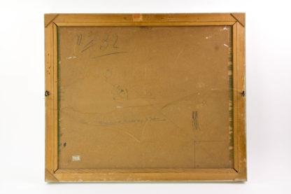 Italien, 1955, signiert P. Castaldi 55, Öl auf Hartfaserplatte, winterliche Hochgebirgslandschaft mit Häusern von St. Jean Gressoney, weißer Rahmen aus den 60er Jahren des 20. Jh., guter Zustand. B: 60 cm, H: 50 cm.